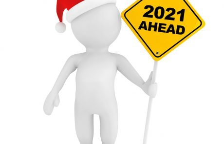 3d Person With 2021 Ahead Traffic Sign On A White Background. 3d